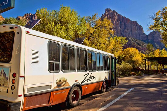 Even the shuttle stops are beautiful in Zion National Park.