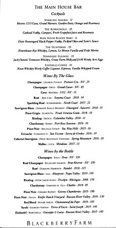 Blackberry Farm, 1471 W Millers Cove Rd, Walland, TN - December - On-property dining at The Dogwood in the Main House - Wines