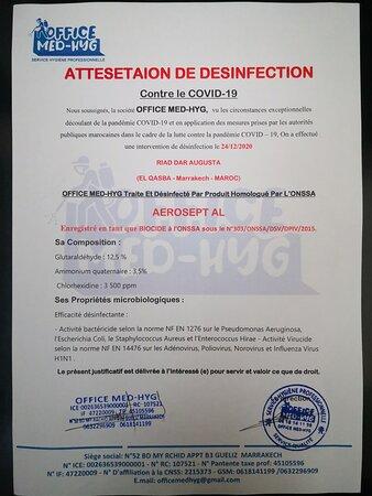 Selon le protocole exigé par les autorités marocaines traitement de désinfection et formation du personnel pour les tâches ménagères quotidiennes. Réouverture le 26 décembre 2020