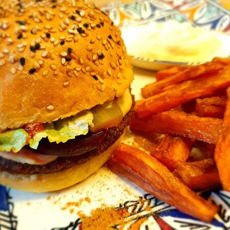 Veggie burger with sweet potatoes and vegan Mayonaise