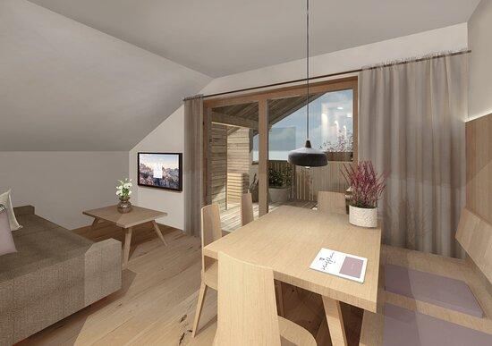 Versciaco di Sopra, Włochy: Family-Apartment FLORA with private finish sauna