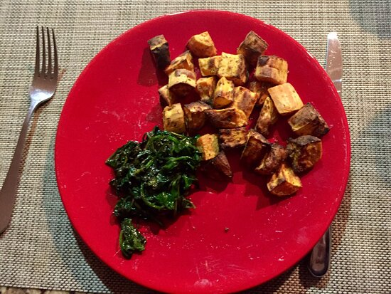 Sudbury, MA: Air fried sweet potatoes with wilted spinach