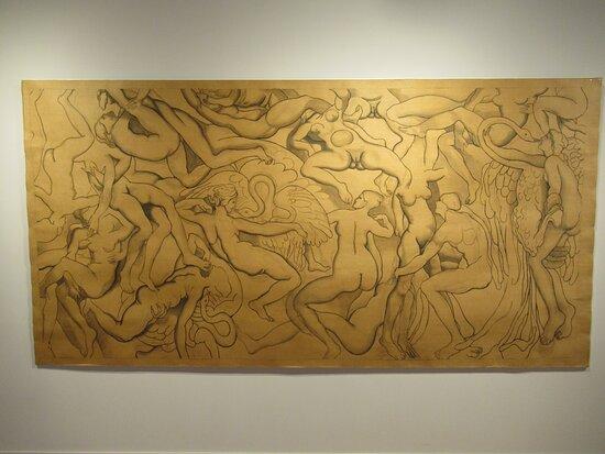 """""""Erotiques d'INGRES"""" (2008) par Henri CUECO (1929-2017) : acrylique sur papier brun"""
