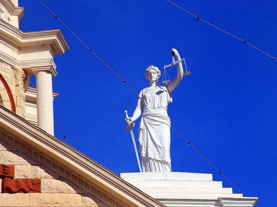 Lady justice on one side