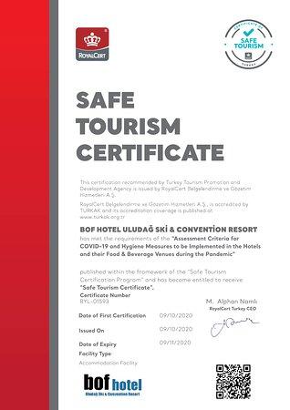 Bof Hotels Uludağ Ski & Convention Resort Safe Tourısm Certificate