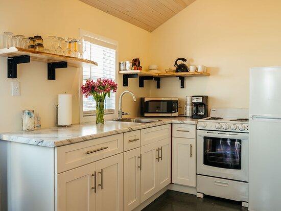 Kitchen of Grey Door Glamping Cottage