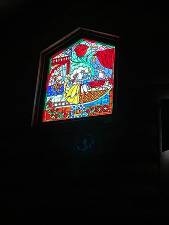 Stain glass window in the room.