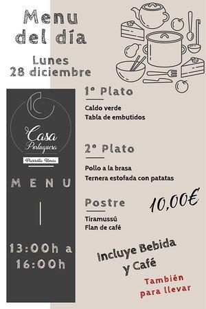 Nuestro menú para hoy Lunes 28 Diciembre!!! Esperamos que os guste!!! www.parrillaumia.com/menu https://fb.me/Casaportuguesa.parrillaumia https://www.instagram.com/casaportuguesaumia/ https://www.youtube.com/channel/UC9eDEa4qsHTjVTX4Ilbd8PA?view_as=subscriber