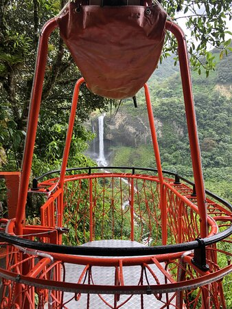 8-Day Ecuador Trekking the Avenue of Volcanoes from Quito: Cable car to a waterfall in Banos