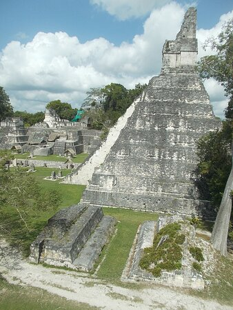 """View of the two """"tomb-like"""" structures right beside the """"main pyramid"""" (seen right down below from the high ground on the south side)"""