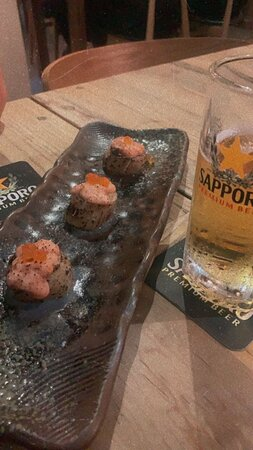 hokkaido scallops with mentaiko