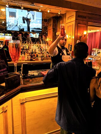 The bartender at the Teatro Martini.