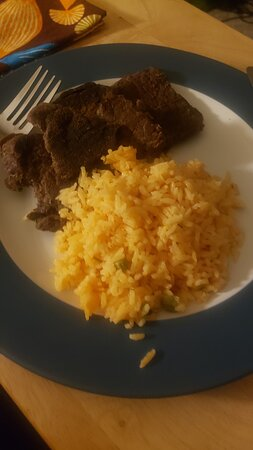 Hamilton Square, NJ: Carne asada with rice