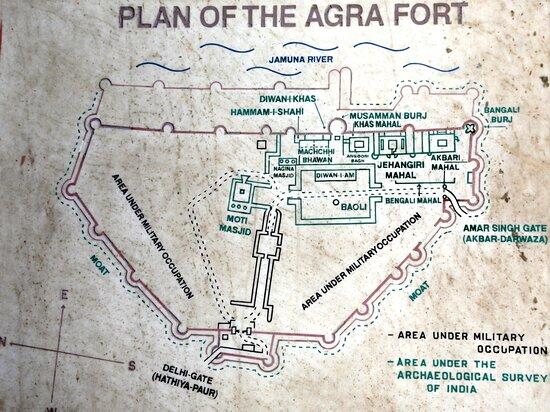 Forte Rosso di Agra: piantina su marmo all'ingresso