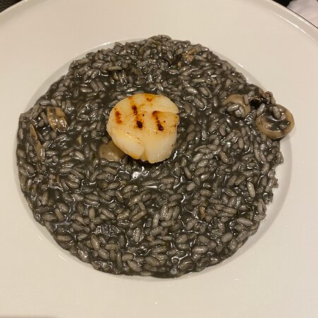 black seafood risotto