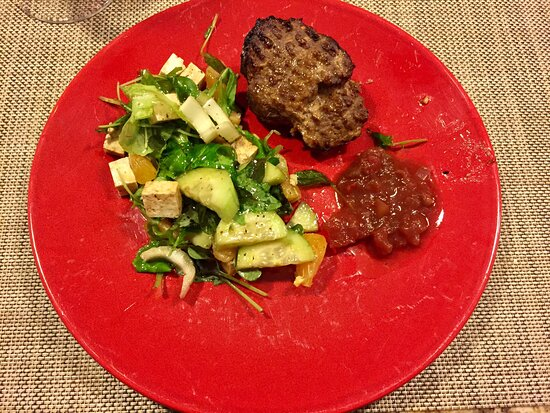 Sudbury, MA: Air fried burger with apple cranberry salsa, and green salad with clementines, cucumbers, celery and tofu cubes