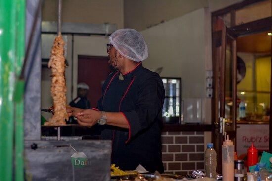 shawarma in the making