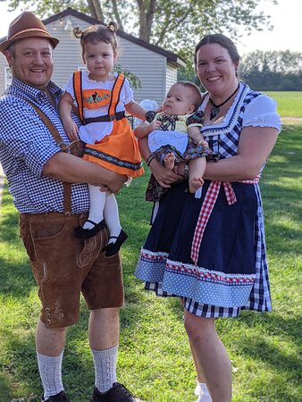 Darin, Anna, Lilly, and Gail Riggs during Oktoberfest