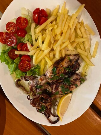 Grilled squid and french fries, could it be better?