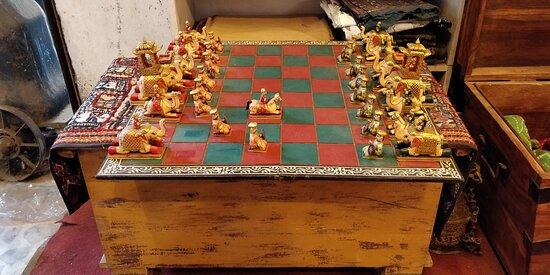 Beautiful  chess board with British era players