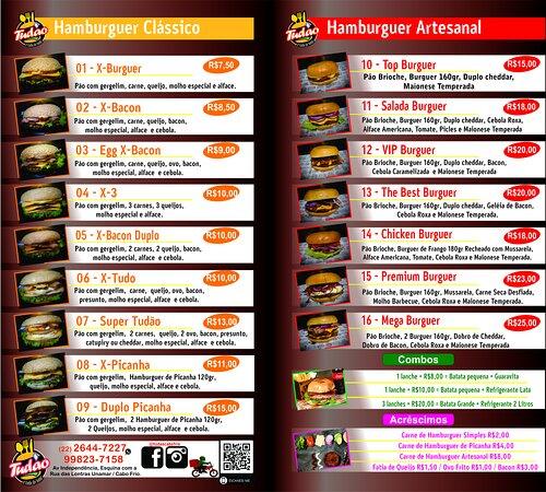 Cardápio completo de Hambúrguer clássicos e Artesanais