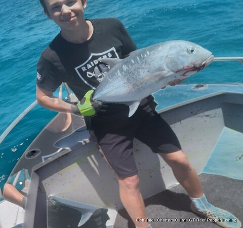 Clement and his 2nd GT- Giant Trevally caught on a Popper