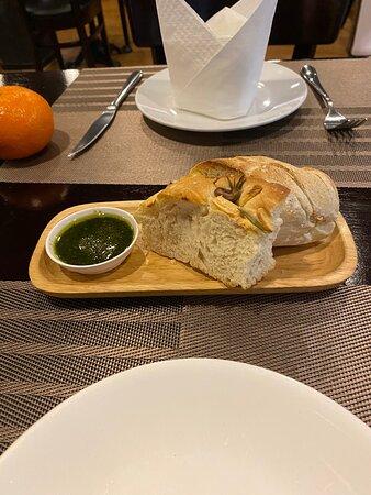 Fresh bread with pesto