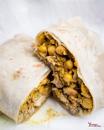 Curry Chicken and Chickpea Roti