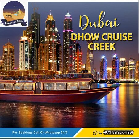 2 Hours Cruising 3 Star Buffet Dinner Tanoura Dance Welcome Drink, Unlimited Soft Drinks Boarding: 7:45 PM Cruising: 8:30 PM till 10:30 PM Location: Dubai Marina Near Marina Mall Boat Capacity: 250 Persons