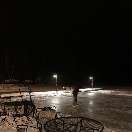 The skate rink is open, warm up station with bonfire.