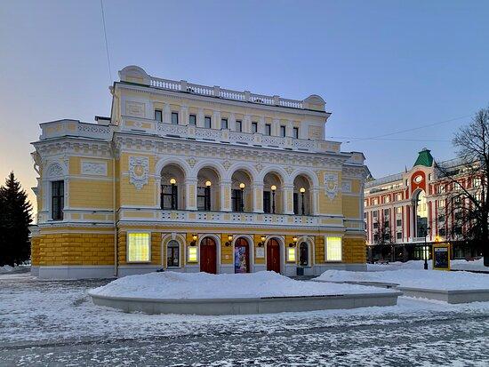 The Drama theatre is located right on the pedestrian street in a beautiful historic building in Nizhni Novgorod, Russia.