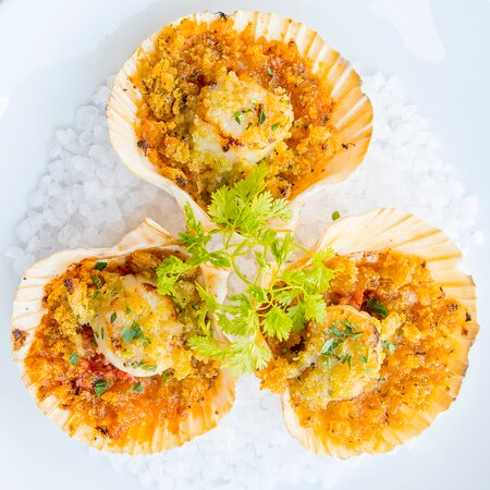 Seared scallops, gratinéed in the shell with Basque Txistorra sausage & espelette pepper topped with crisp garlic & lemon breadcrumbs