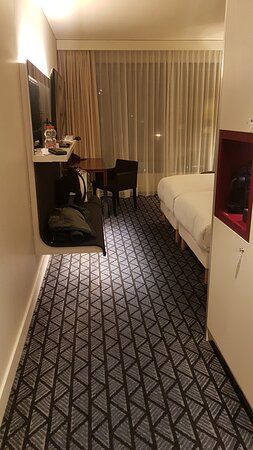 The room was decent sized equipped with iron, iron board, clothesline in the bathtub, coffee machine, water heater, telephone and a hair dryer. The temperature control is in good working condition.
