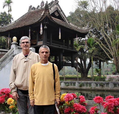 """Arriving at the """"One Pillar Pagoda"""" in Hanoi's """"Old Quarter""""."""