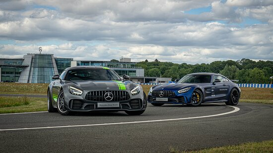 Weybridge, UK: You can get behind the wheel our GTR Pro top of the range AMG with coaching from our Driving Specialists on our handling track, with access to the 360 degrees wet circle.