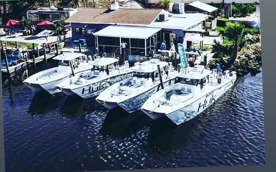 Sport fishing boats line up at the Shrimp Landing docks afetr a day of offshore fishing in the Gulf of Mexico.
