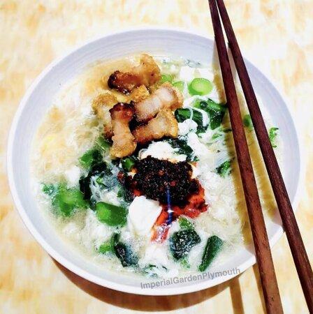 Crispy pork rice noodles