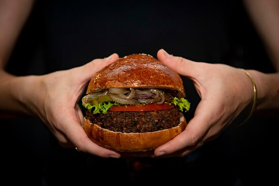 Our veggie burger is the real star of the menu.