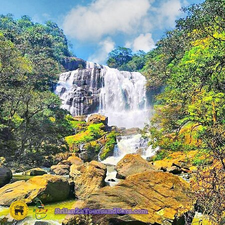 Rathna ella waterfall   Ratna ella is about 345 feet tall and is one of the most beautiful waterfalls in Sri Lanka. Its exquisite, wide-brimming and colorful  SrilankaToursandCars.com