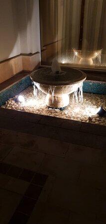 fountain villa by night