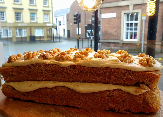 Coffee and walnut cake, all our cakes are homemade.