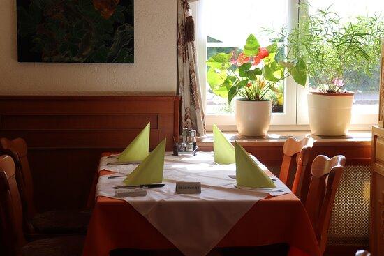 Grenzach-Wyhlen, Németország: Tisch mit Rhein-Blick, Winter