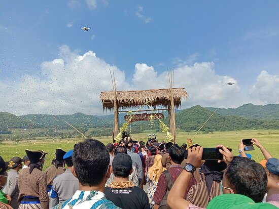 Rice harvesting ceremony at JogloMenoreh villages nearby