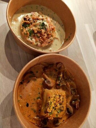Les 2 entrées : pressé de pommes de terre velouté de langoustines et association crevette et truite