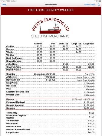 Shellfish price list