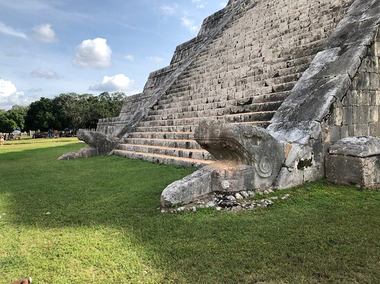 Chichen Itza Premier with Sacred Cenote from Cancun and Mayan Riviera: Snake heads