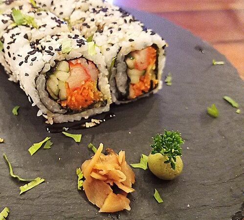 Crab. carrot, cucumber roll.