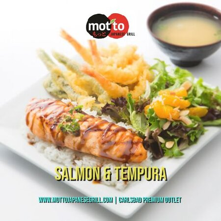"""""""Salmon & Tempura Plate"""": crispy mixed tempura & grilled chicken drizzle with teriyaki sauce, topped with sesame seeds & green onions served with rice, a choice of our signature salad & miso soup."""