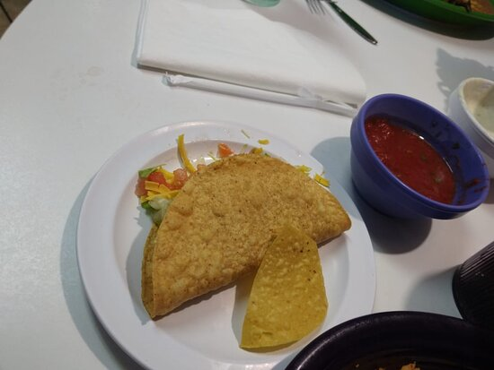 Crispy Beef Taco that came with my #10 Chicken Enchilada plate