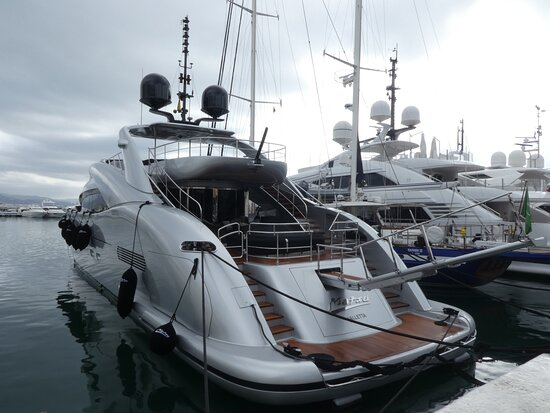 One of the many luxury yachts in the harbour area